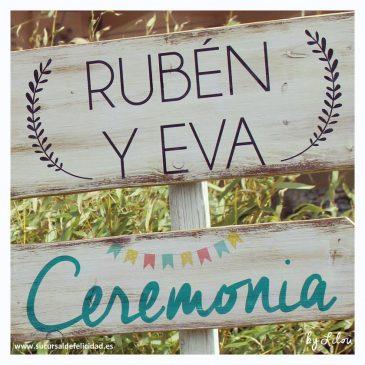 Decoración con un toque campestre en la boda de Eva y Rubén
