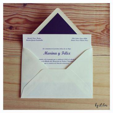 Invitaciones de boda - Sobre y tarjeta