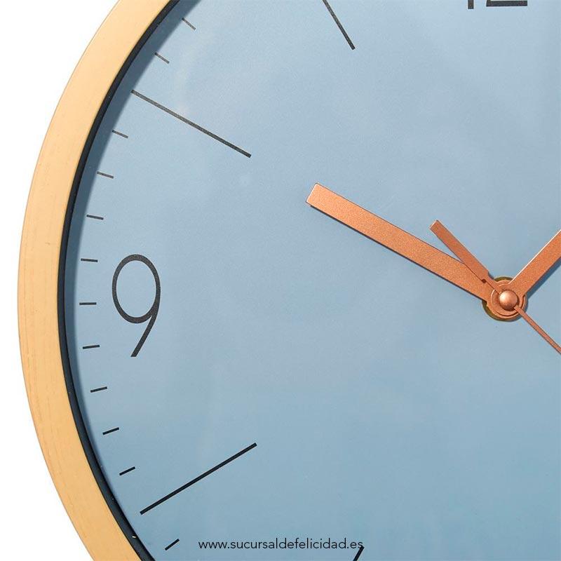 Reloj Indigo- Madera, azul y cobre