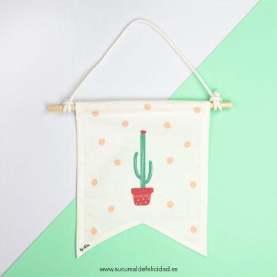 Banderín de tela Cactus