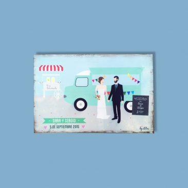 Cartel de madera personalizado - Recién casados