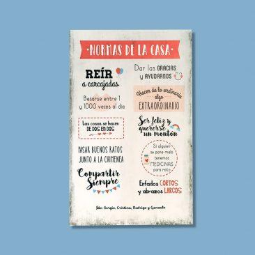 Cartel de madera personalizado - Normas de la casa