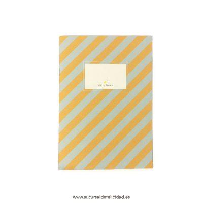 Libreta Rayas Azul y Mostaza