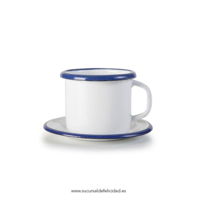 Taza de café + Plato Esmaltado Azul