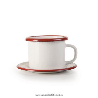 Taza de café esmaltada + Plato Esmaltada Burdeos
