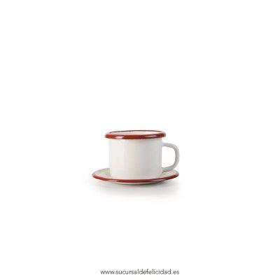 Taza y Platillo Mini Acero Esmaltado Rojo