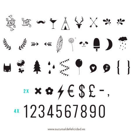 Pack de letras Símbolos y Números