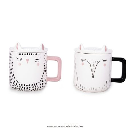 Taza Bird y Fox con Tapa