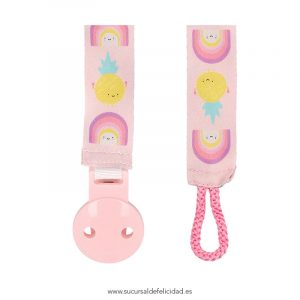 Sujeta chupetes Arcoíris rosa