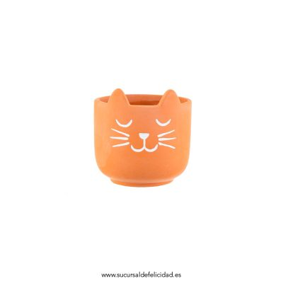 Mini Maceta Gato Terracota