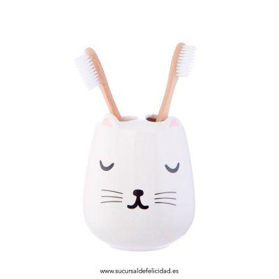 Vaso Cepillos de Dientes Gato