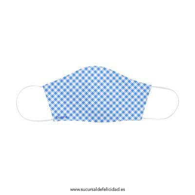 Mascarilla Adulto Tela Vichy Azul