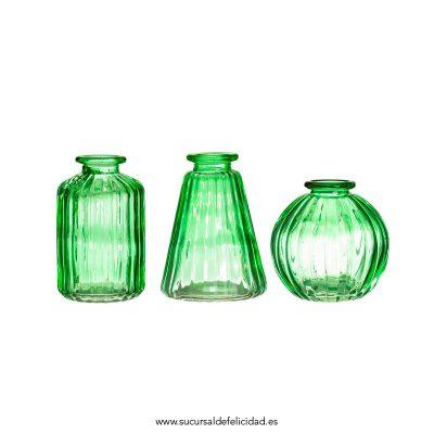 Set de 3 Jarrones de Vidrio Verde