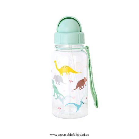 Botella Infantil Dinosaurios Pajita