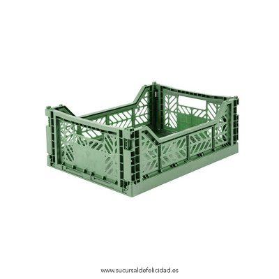 Caja Lillemor Plegable Mediana Verde Almendra