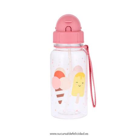 Botella Infantil Helados Pajita