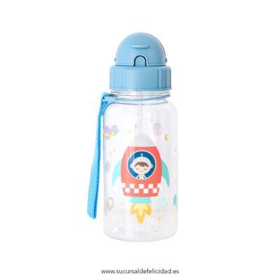 Botella Infantil Planetas Pajita