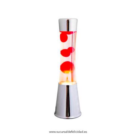 Lampara de lava - Cromo + Lava Roja